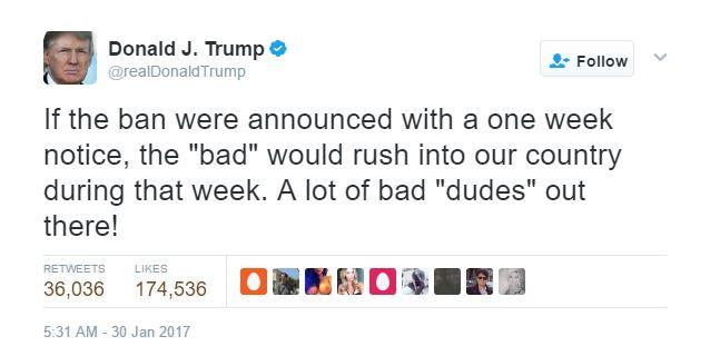 travel ban tweet